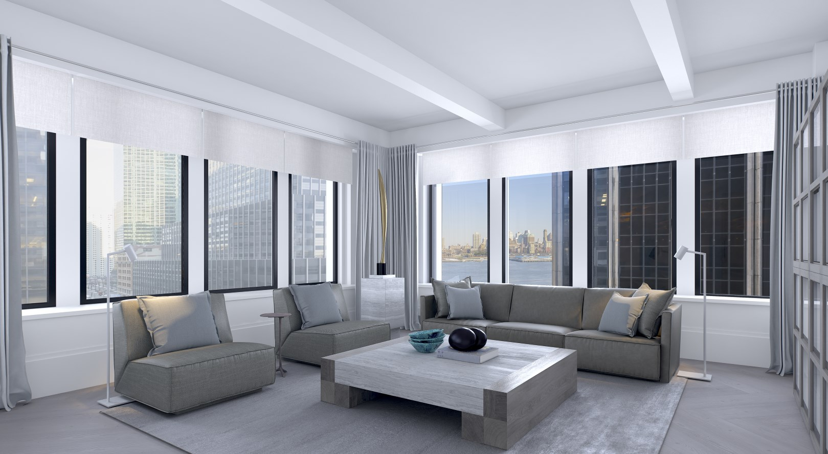 Corner living room with East River view