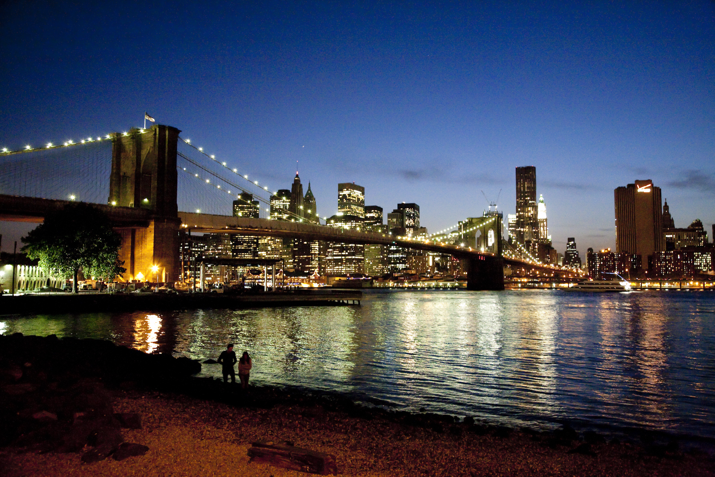 The East River skyline after dark