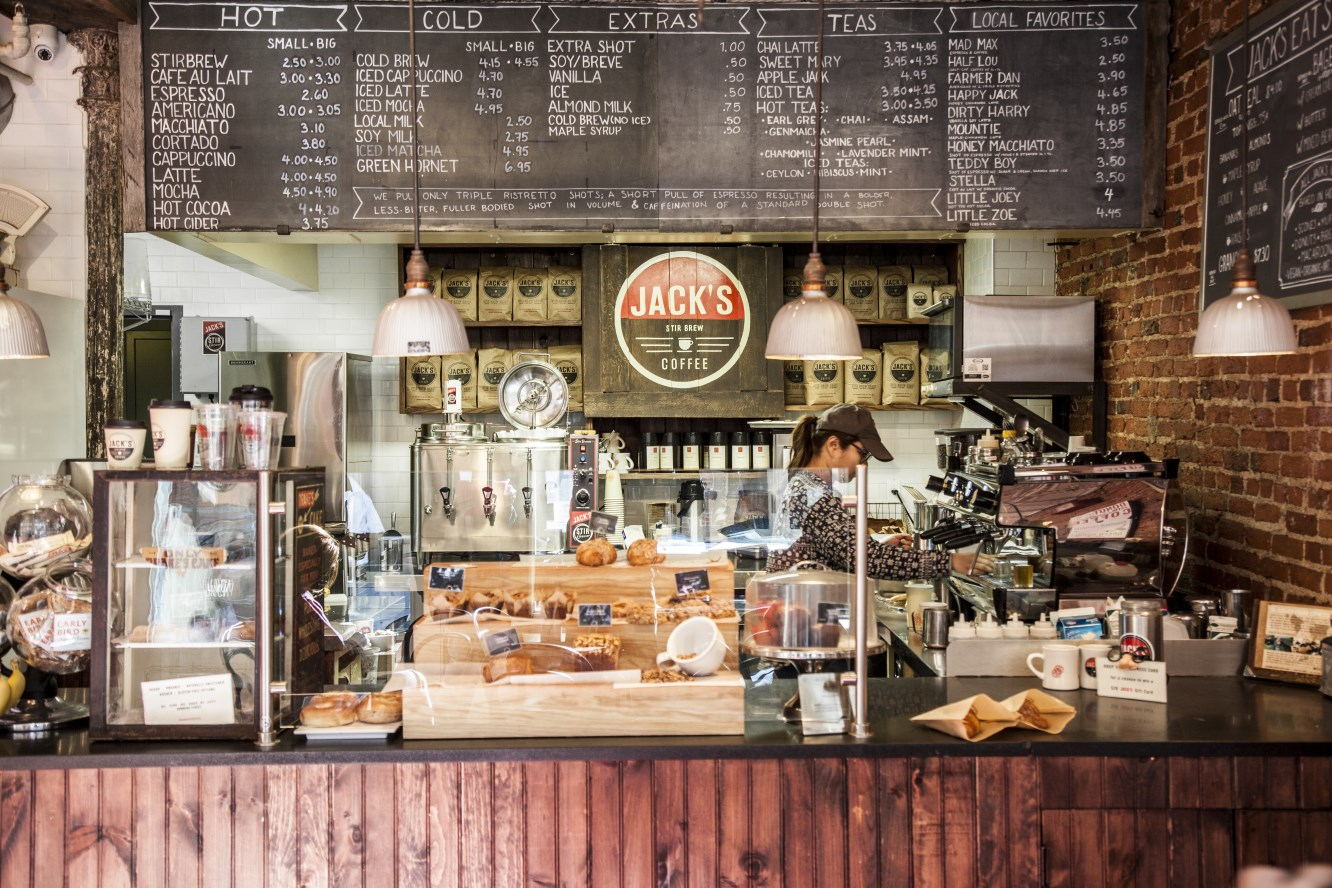 Sip on organic, fair trade, shade grown coffee at Jack's Stir Brew