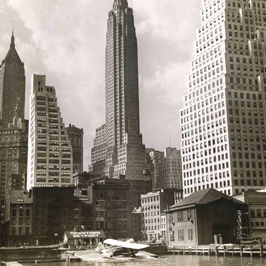 Vintage photograph of the South Street Seaport with 101 Wall Street in the background